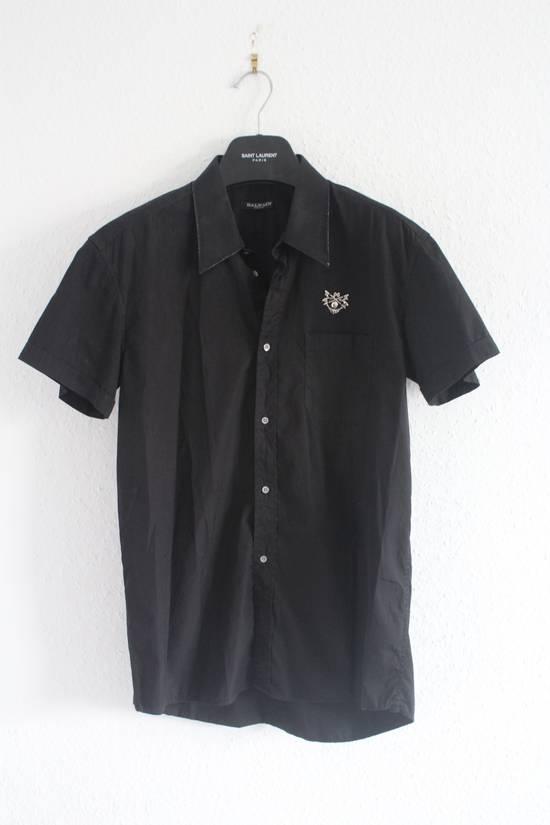 Balmain SS11 Decarnin Black Metal Badge Pin Poplin Shirt Size US M / EU 48-50 / 2