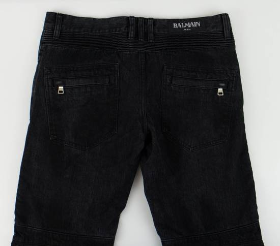 Balmain Black Cotton Denim Biker Jeans Size US 32 / EU 48 - 3