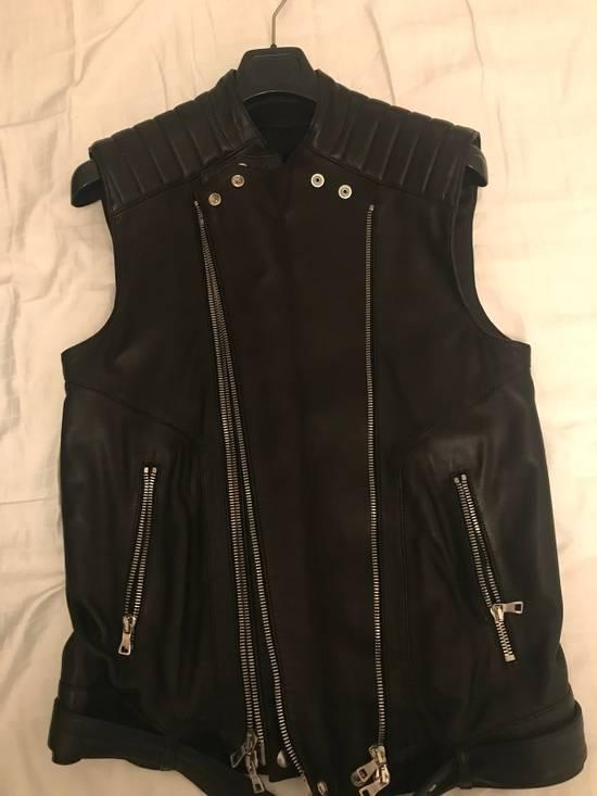 Balmain Leather Sleeveless Biker Jacket Size US M / EU 48-50 / 2 - 1