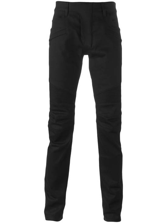 Balmain Black Raw Denim Biker Pants Size US 32 / EU 48
