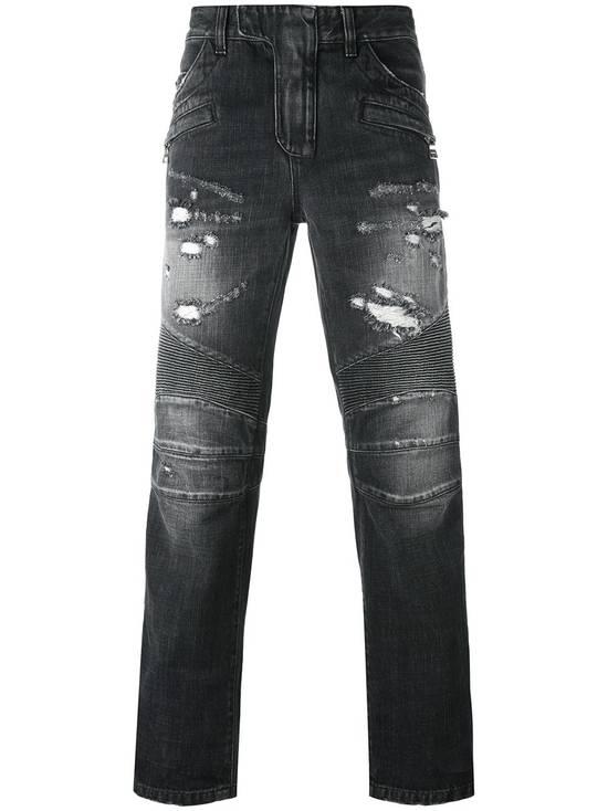 Balmain Black Distressed Biker Jeans Size US 29 - 1