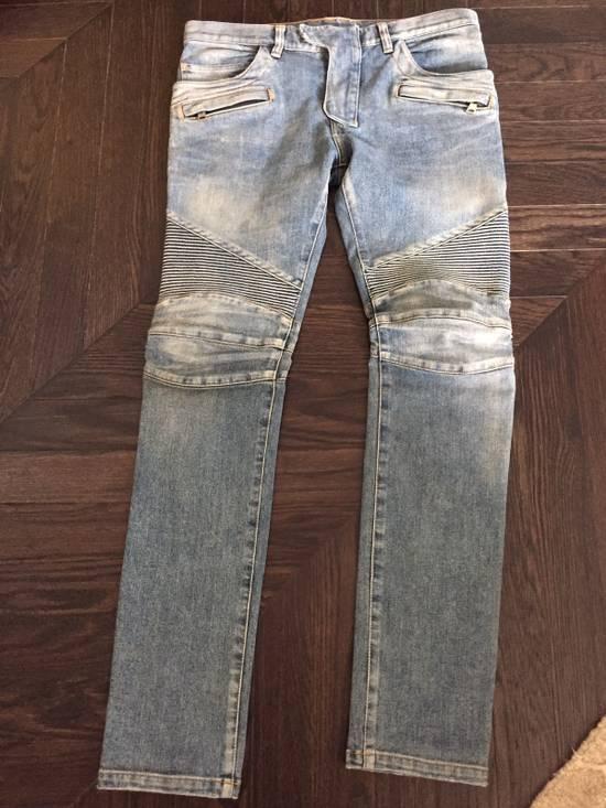 Balmain Balmain Blue Denim Motorcycle Jeans Size US 31 - 1