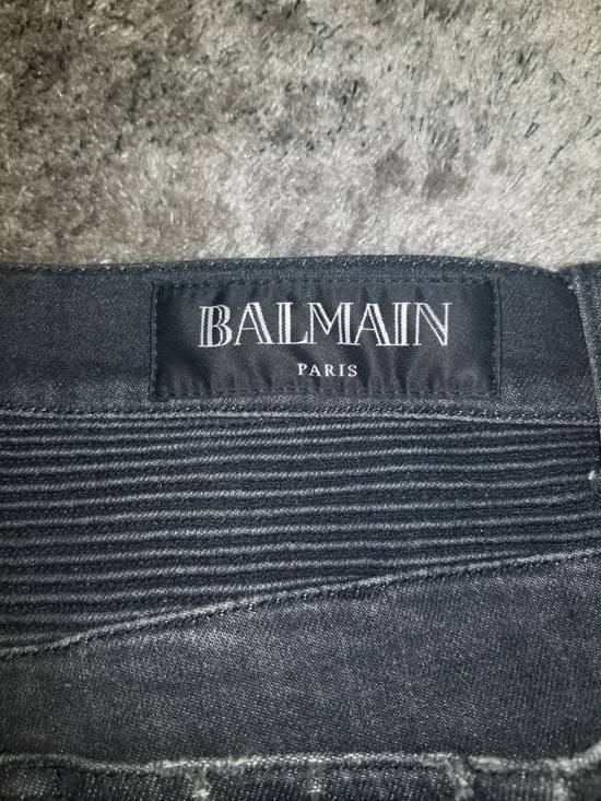 Balmain Grey Signature Biker Denim Size US 36 / EU 52 - 5
