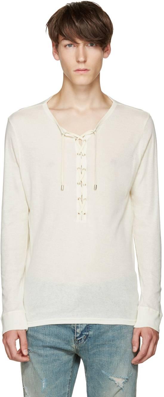 Balmain Size Small - Cashmere Blend Lace Front Shirt - FW16 - $625 Retail Size US S / EU 44-46 / 1 - 5