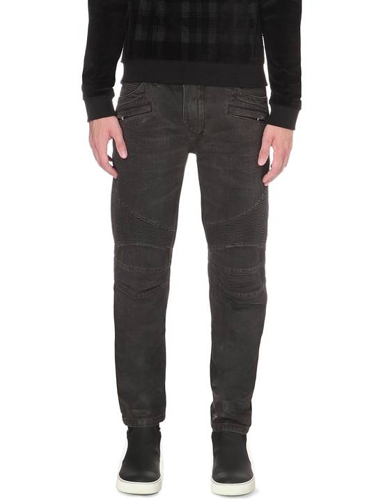 Balmain Black Waxed Biker Jeans Size US 29 - 1