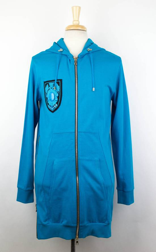 Balmain Men's Turquoise Cotton Zip-Up Long Hoodie Sweater Size Medium Size US M / EU 48-50 / 2