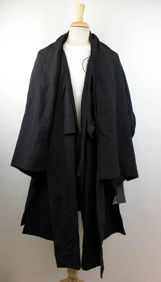 Julius Black Linen Blend 'Kimono Sleeve Long' Trench Coat 2/S Size US S / EU 44-46 / 1