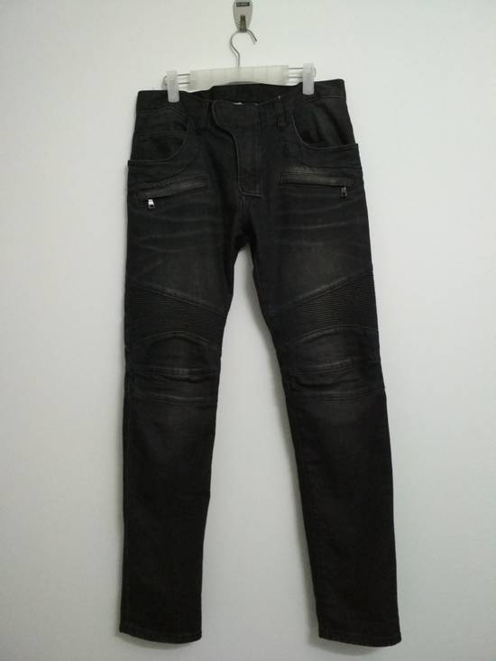 Balmain Authentic BALMAIN Dark Grey Slim Biker Stretch Denim Jeans Made in Italy Size US 32 / EU 48 - 2