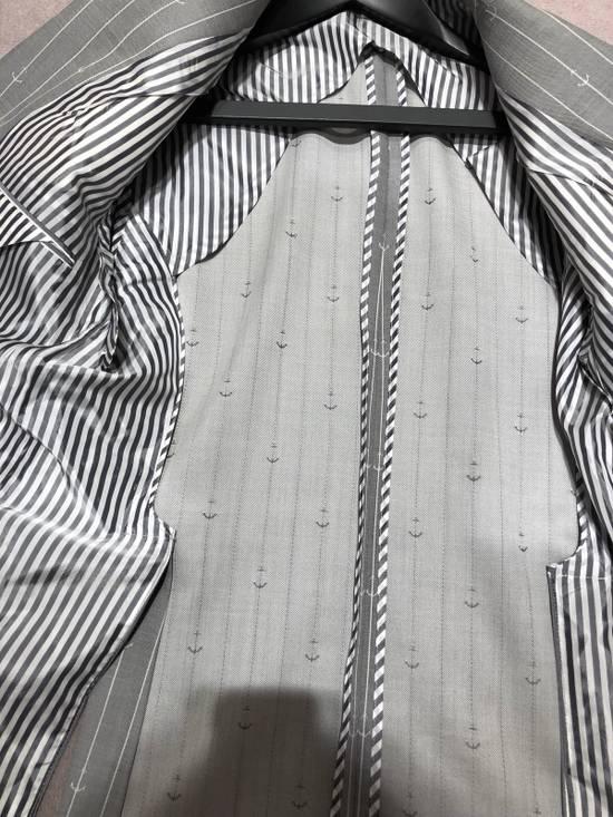 Thom Browne THOM BROWNE CLASSIC BLAZER IN GRAY/WHITE ANCHOR PINSTRIPE Size 40R - 7