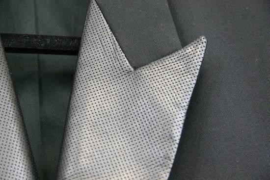 Balmain RARE $4k+ SS12 Balmain Black Perforated Leather Peak Lapel Jacket Blouson 50 48 Size 40R - 2