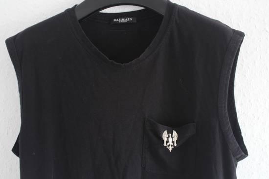 Balmain SS11 860$ RRP Decarnin Era Black Sleeveless Metal Pin Shirt Hand Made Size US M / EU 48-50 / 2 - 1