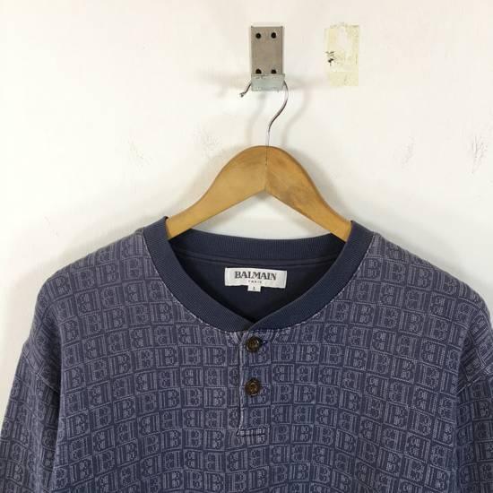 Balmain ( Last Drop ) Vintage 90s BALMAIN Sweatshirt Full Logo Blue Pullover Jumper Size Large Size US L / EU 52-54 / 3 - 1
