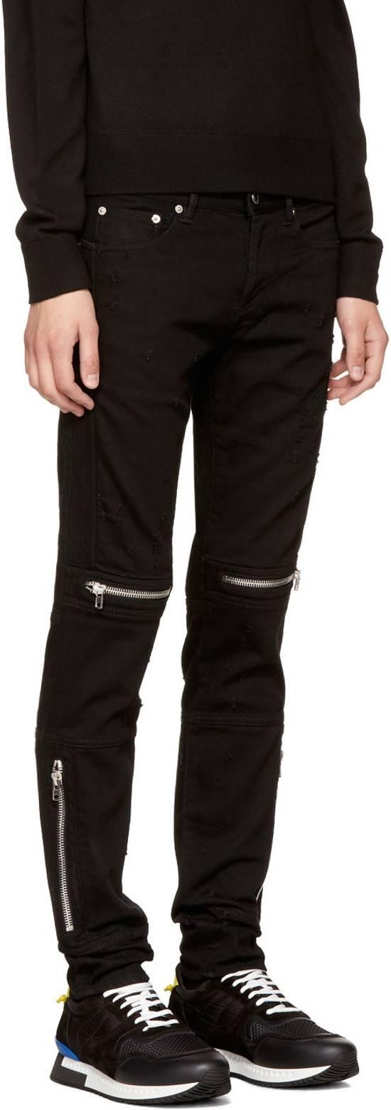Givenchy Distressed Denim Biker Skinny Jeans, Black Size US 34 / EU 50 - 4
