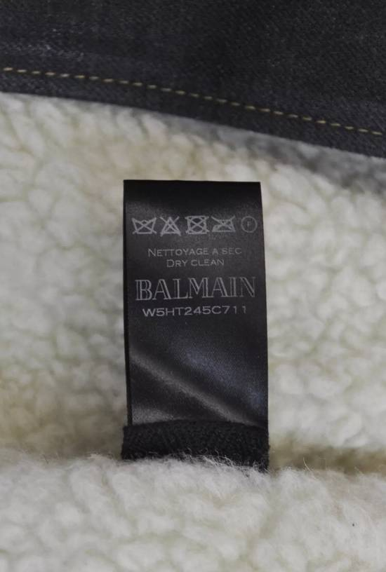 Balmain Balmain shearling and cotton biker jacket with destroyed effect Size US L / EU 52-54 / 3 - 5