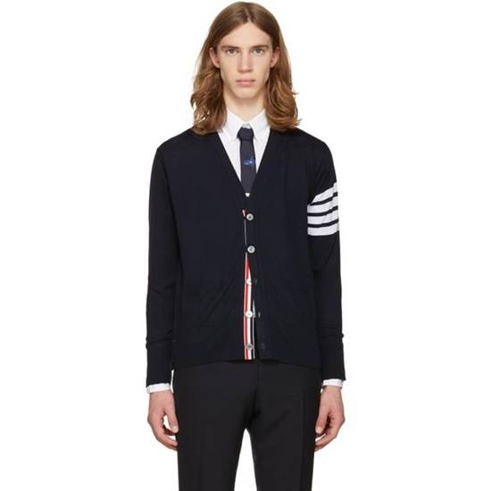 Thom Browne Navy Merino Wool Classic 4 Bar Cardigan Size US XL / EU 56 / 4