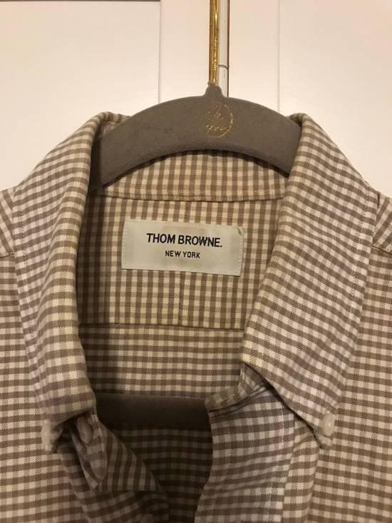 Thom Browne Grey Gingham Oxford Collar Buttondown Shirt Size US L / EU 52-54 / 3 - 2