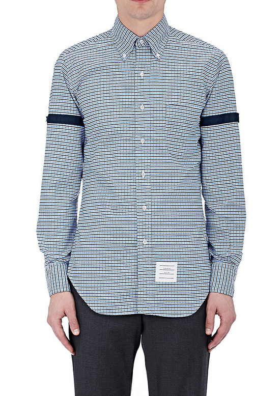 Thom Browne Blue Gingham Shirt with Grosgrain Arm Bands NEW Size US L / EU 52-54 / 3