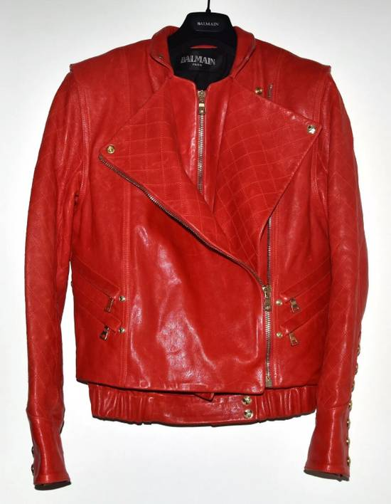 Balmain Layered Biker Leather Jacket Size US M / EU 48-50 / 2