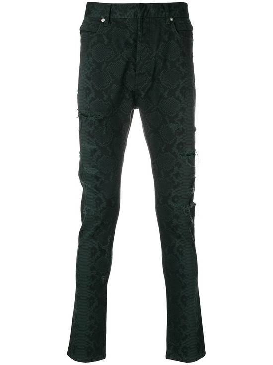 Balmain BNWT $2.1K Snake Finish Print Distressed Holes Jeans Denim Biker Moto Motorcycle Clout Streetwear Tapered Size US 32 / EU 48 - 1