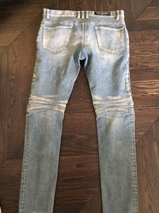 Balmain Balmain Blue Denim Motorcycle Jeans Size US 31 - 5