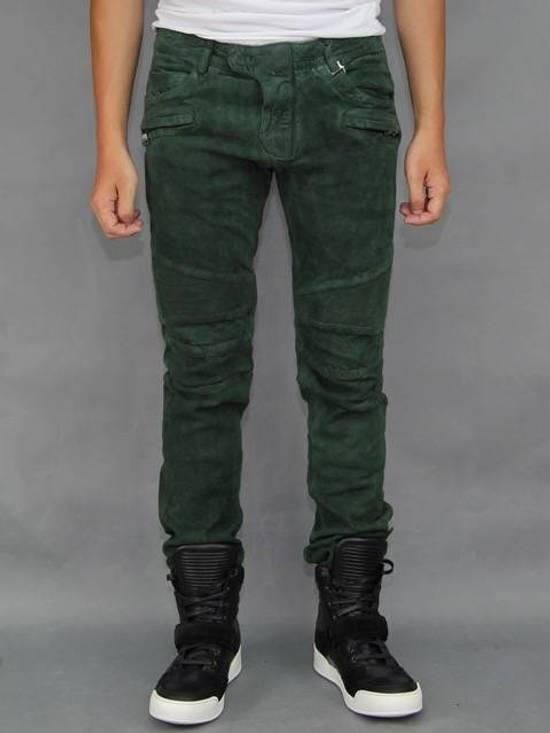 Balmain Balmain Green Lamb Suede Leather Biker Pants Size: 28-XS Size US 28 / EU 44 - 7