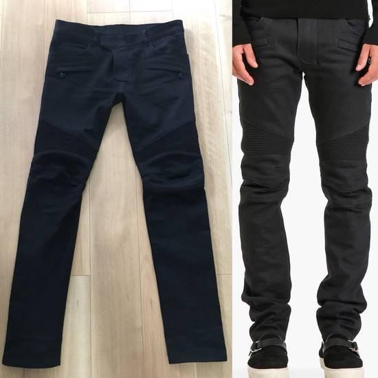 Balmain SS17 Balmain Biker Black Raw Jeans Size US 33