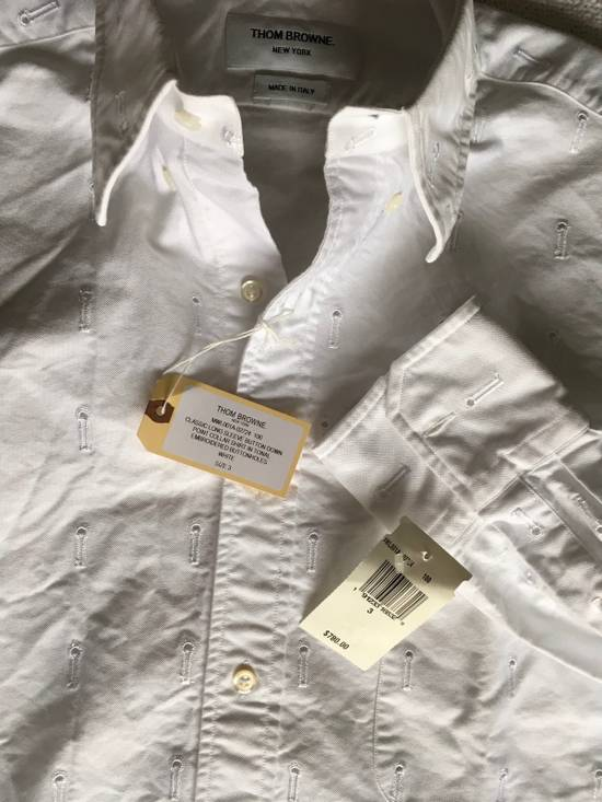 Thom Browne Button-Down Collar Embroidered Cotton Oxford Shirt, White Size3/Medium Brand New With Tags Size US M / EU 48-50 / 2 - 3
