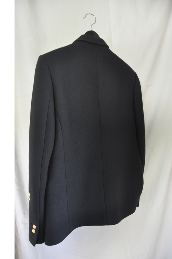 Balmain Balmain Blazer Navy Blu - F/W 2010 (Military Insignia Wool Pea Coat with Golden Crested Button) Size US L / EU 52-54 / 3 - 5