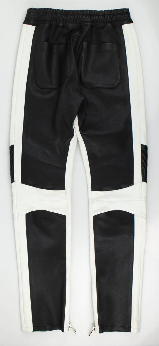Balmain Black and White Contrast Leather Biker Pants Size XS Size US 30 / EU 46 - 1