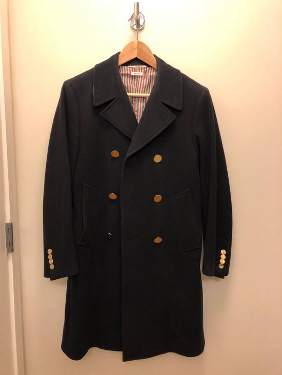 Thom Browne Navy melton wool double-breasted coat Size US XS / EU 42 / 0