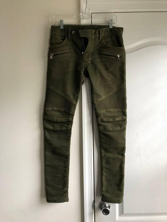 Balmain Very Rare Balmain Khaki Green Cotton Stretch Skinny Biker Jeans Size 28 Size US 28 / EU 44 - 1