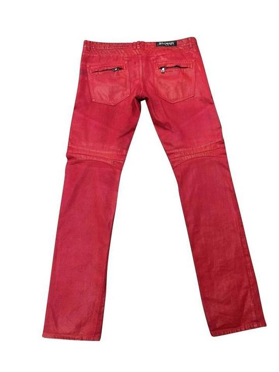 Balmain Balmain Signature Men's Wax Coated Denim Scarlet Red Motto Zip Jeans sz 36 Size US 36 / EU 52 - 1