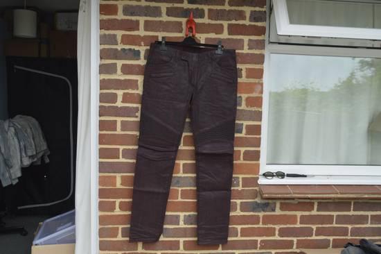 Balmain Bordeaux Waxed Biker Jeans Size US 34 / EU 50