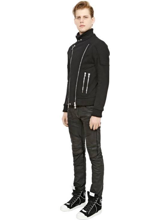 Balmain Balmain Leather & Cotton Black Denim Biker $1680 Authentic Jeans Size 33 New Size US 33 - 1