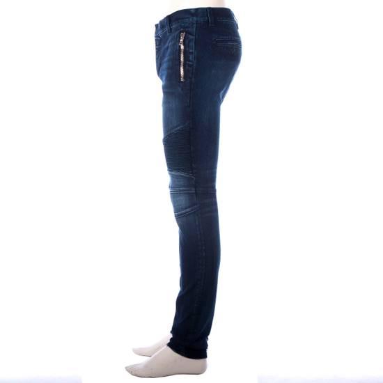 Balmain 995$ New Dark Blue Cotton Blend Biker Jeans Size US 29 - 4