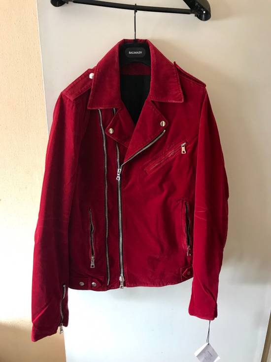 Balmain Red Velvet Biker Jacket Brand New With Tags Size US L / EU 52-54 / 3 - 2