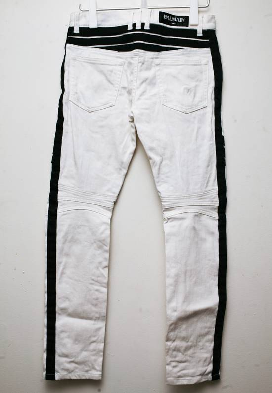 Balmain SS2015 17cm Dirty White Contrast Panelled Stretch Denim Biker Jeans Size US 30 / EU 46 - 1
