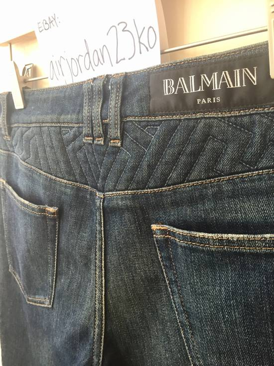 Balmain BLUE GEOMETRIC STRETCH DENIM TRAPUNTO QUILTED BIKER JEANS Size US 29 - 1