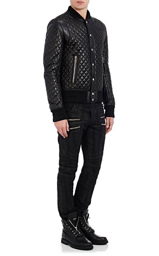Balmain Balmain Quilted Leather Bomber Varsity Jacket Size 50 Black FW16/17 Brand New $5245 Size US M / EU 48-50 / 2 - 9
