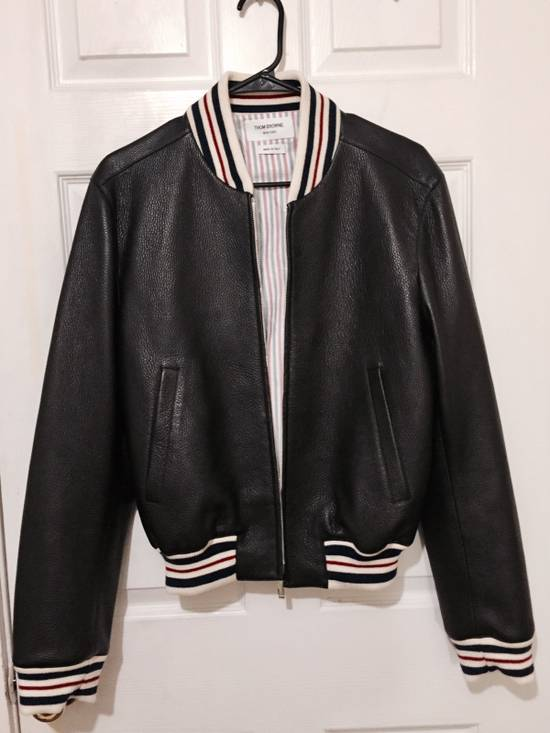Thom Browne Black Leather Varsity Jacket (NEW W TAG) Size US XS / EU 42 / 0 - 1