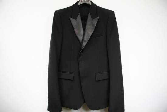 Balmain RARE $4k+ SS12 Balmain Black Perforated Leather Peak Lapel Jacket Blouson 50 48 Size 40R - 3