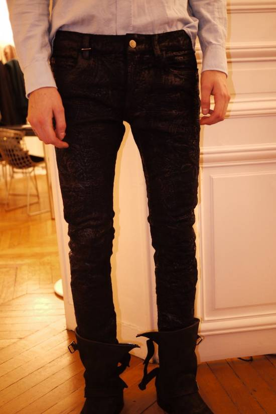Balmain Midnight Blue Waxed Embroidered Jeans Size US 27 - 19