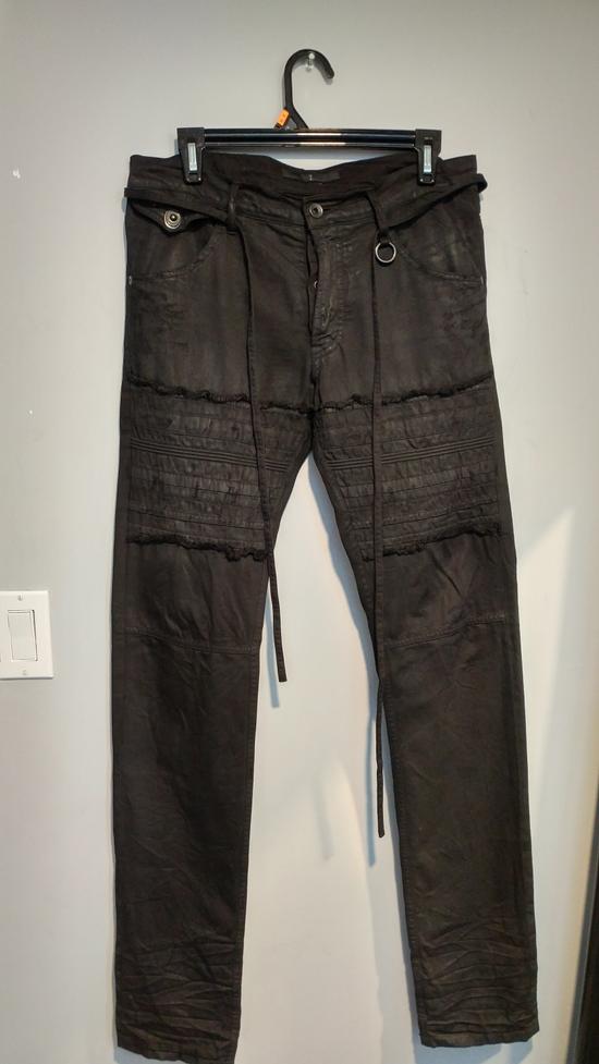 Julius SS11 Paneled Waxed Slim Jeans (sz 2, fits 31-32) Size US 32 / EU 48