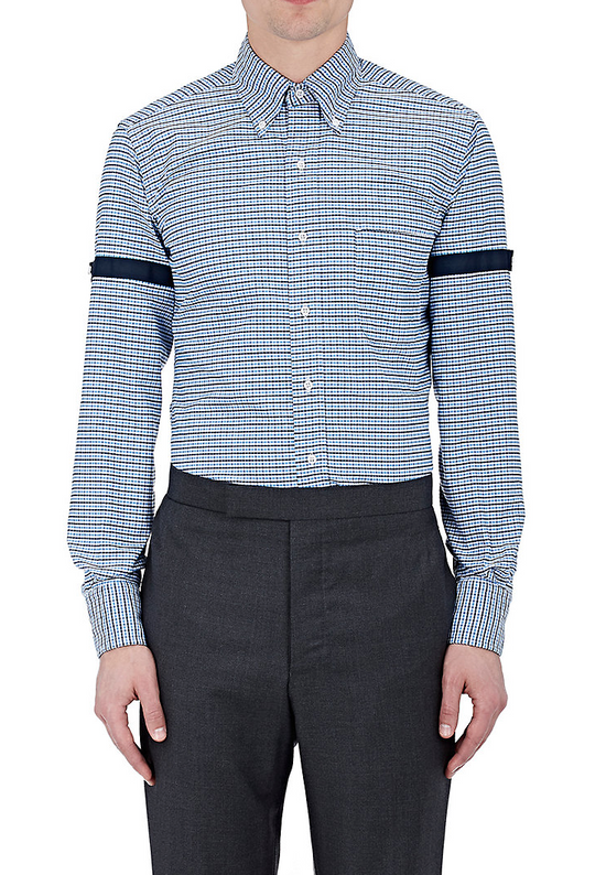 Thom Browne Blue Gingham Shirt with Grosgrain Arm Bands NEW Size US L / EU 52-54 / 3 - 1