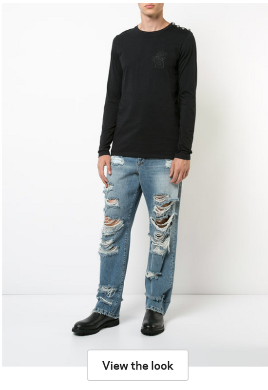 Balmain Distressed Slouched Jeans Size US 30 / EU 46