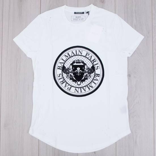Balmain SS18 New White Cotton Balmain Velvet Logo Print Tshirt Size US M / EU 48-50 / 2 - 3