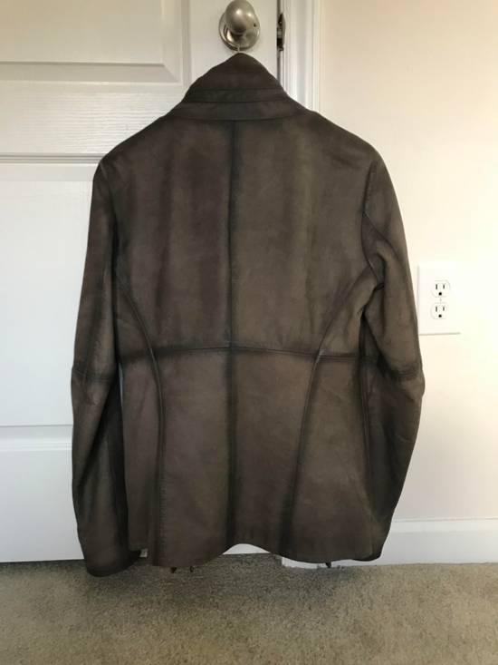 Julius Greige Nubuck Asymmetric Cowl Neck Leather Jacket Size US S / EU 44-46 / 1 - 2