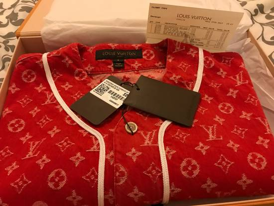 Supreme Louis Vuitton Supreme Red Denim Baseball Jersey Size US S / EU 44-46 / 1 - 4