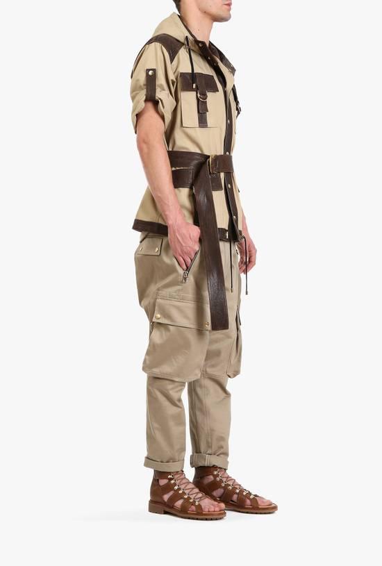 Balmain Leather and canvas hooded safari jacket Size US L / EU 52-54 / 3 - 3