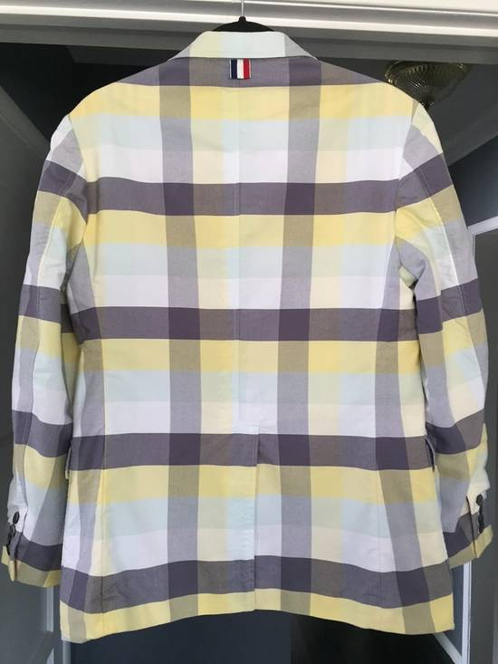 Thom Browne Thom Browne Spring 2011 Size 0 Jacket Yellow Gray Light Blue Plaid Blazer Size 36R - 1
